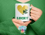 Yellow Heart Lucky Clover St Patrick's Day Printed Mug