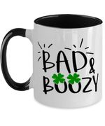 Bad And Boozy Clover St Patrick's Day Printed Accent Mug