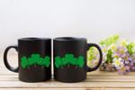 Three Clovers Black Background St Patrick's Day Printed Mug