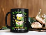 Yellow Hat Drink Beer And Play Baseball Shamrock St Patrick's Day Printed Mug