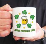 Drinking Beer Shamrock St Patrick's Day Printed Mug