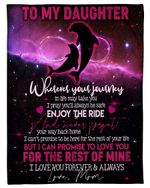 Mom Gift For Daughter Purple Dolphin Enjoy The Ride Sherpa Fleece Blanket