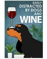 Dog Cocker Spaniel Plants And Red Wine Gift For Dog Lovers Vertical Poster