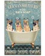 German Shepherd Co Bath Soap Wash Your Paws Gift For Dog Lovers Vertical Poster