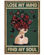 Retro Green Find My Soul Butterfly Lady Vertical Poster