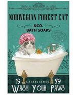 Green Bath Soap Company Norwegian Forest Cat Gift For Cat Lovers Vertical Poster