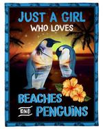 Gift For Women Just A Girl Who Loves Beaches And Penguins Fleece Blanket