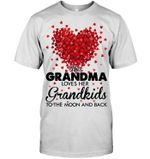 This Grandma Loves Her Grandkids To The Moon And Back Red Flowers Heart Shaped Guys Tee
