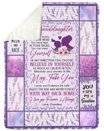 Lavender Pattern Believe In Yourself Grandma Gift For Granddaughter Sherpa Fleece Blanket
