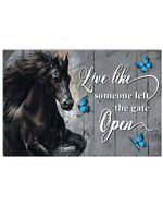 Black Horse Like Someone Left The Gate Open Horizontal Poster