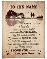 Custom Name Gift For Husband My Happy Ending Fleece Blanket