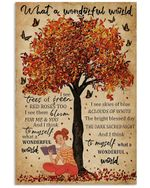 Autumn Reading Girl What A Wonderful World Butterfly Vertical Poster