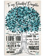 Dad Gift For Daughter Blue Tree Believe In Yourself Vertical Poster