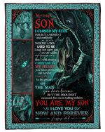 Dad Gift For Son Dragon I Closed My Eyes Fleece Blanket