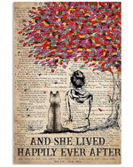 Husky Dog And She Sitting Under Colorful Tree Lived Happily Ever After Vertical Poster
