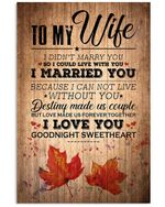 Maple Leaf Love You Goodnight Gift For Wife Vertical Poster