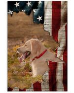 Cute Larbador Dog Behind American Flag Gift For Dog Lovers Vertical Poster