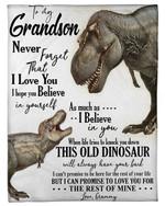 Grammy Gift For Grandson T Rex Believe In Yourself Fleece Blanket