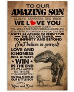 How Much We Love You T Rex Mom And Dad Gift For Son Vertical Poster
