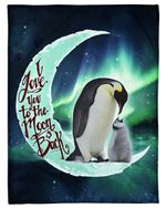 Penguin Gift For Daughter Love You To The Moon And Back Fleece Blanket