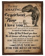 Vintage Design Grandma Gift For Grandson T Rex I Love You Fleece Blanket