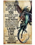 Dragon Gift For Son Remember To Be Awesome Vertical Poster