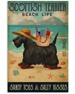 Beach Life Sandy Toes Scottish Terrier Gift For Dog Lovers Vertical Poster