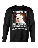 Black Eared White Boxer Puppy Personal Stalker St. Patrick's Day Printed Sweatshirt