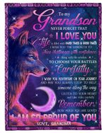 Wolf Pink And Purple Choose Your Battles Carefully Grandma Gift For Grandson Fleece Blanket