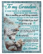 Wolf Grandma Gift For Beloved Grandson I'll Always Be With U Fleece Blanket