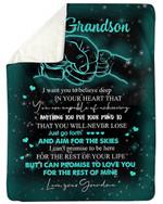 Aim For The Skies Grandma Gift For Grandson Sherpa Fleece Blanket
