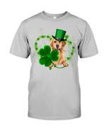 Golden Retriever Green Clover Heart Design St Patrick's Day Gift For Dog Lovers Guys Tee
