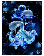 Royal Roses With Beautiful Dolphins Gift For Lover Fleece Blanket