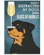 Rottweiler Dog And Glass Of Bubbles Gift For Dog Lovers Vertical Poster