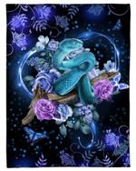 I Love Snakes Rose And Butterfly Design Fleece Blanket