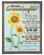 Grandma Gift For Granddaughter Sunflower The Happiness In My Life Fleece Blanket
