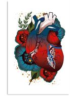 Meaningful Gift For Cardiologist Heart Anatomy Flowers Design Vertical Poster