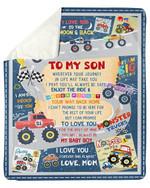 Enjoy The Ride Truck Cartoon Mom Gift For Son Sherpa Fleece Blanket