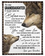 Wolf Believe Deep In Your Heart Grandma Gift For Granddaughter Fleece Blanket