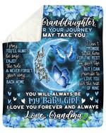 Blue Flower Enjoy The Ride Grandma Gift For Granddaughter Sherpa Fleece Blanket