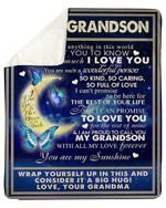 Grandma Gift For Beloved Grandson You Are My Sunshine Sherpa Fleece Blanket
