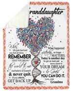 Dna Tree Grandma Gift For Granddaughter Never Quit Sherpa Fleece Blanket
