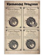 Elemental Dragons Circle Curly Gift For Dragon Lovers Vertical Poster