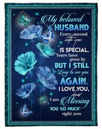 Blue Butterflies And Flower Every Second With You Gift For Husband Fleece Blanket