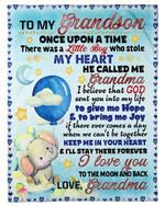 Keep Me In Your Heart Blue Balloon Grandma Gift For Grandson Fleece Blanket