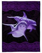 Purple Paisley Pattern Dolphins Meaningful Gift Fleece Blanket