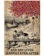 Dictionary Girl And Dogs Happily Ever At Lake Gift For Dog Lovers Vertical Poster