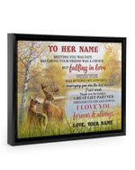 Deer Natural River Love You Forever Custom Name Gift For Wife Framed Matte Canvas