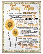Sunflowers Gift For Mom I Love You Fleece Blanket