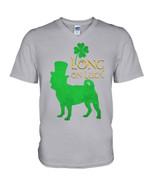 Pug Long On Luck Green St. Patrick's Day Guys V-neck